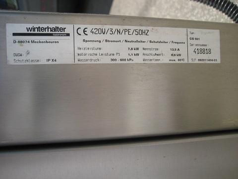 Winterhalter GS501 Pass through dishwasher 3 phase electric Refurbished.