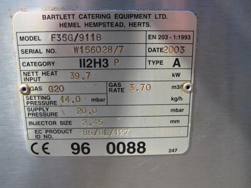 Bartlett F35G/911B  6 Burner Range gas.
